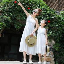 亲子装夏2019新款雪纺连衣裙 母女装长裙休闲海边度假公主沙滩裙