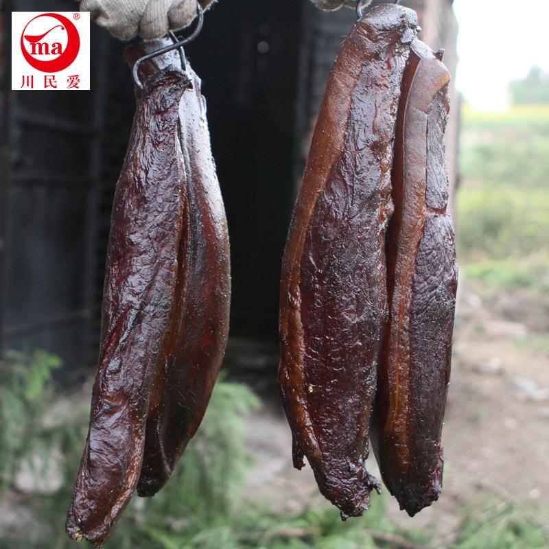 四川农家圆尾腊肉 柏树丫烟熏鲜肉腌制土猪肉川民爱食品餐厅批发