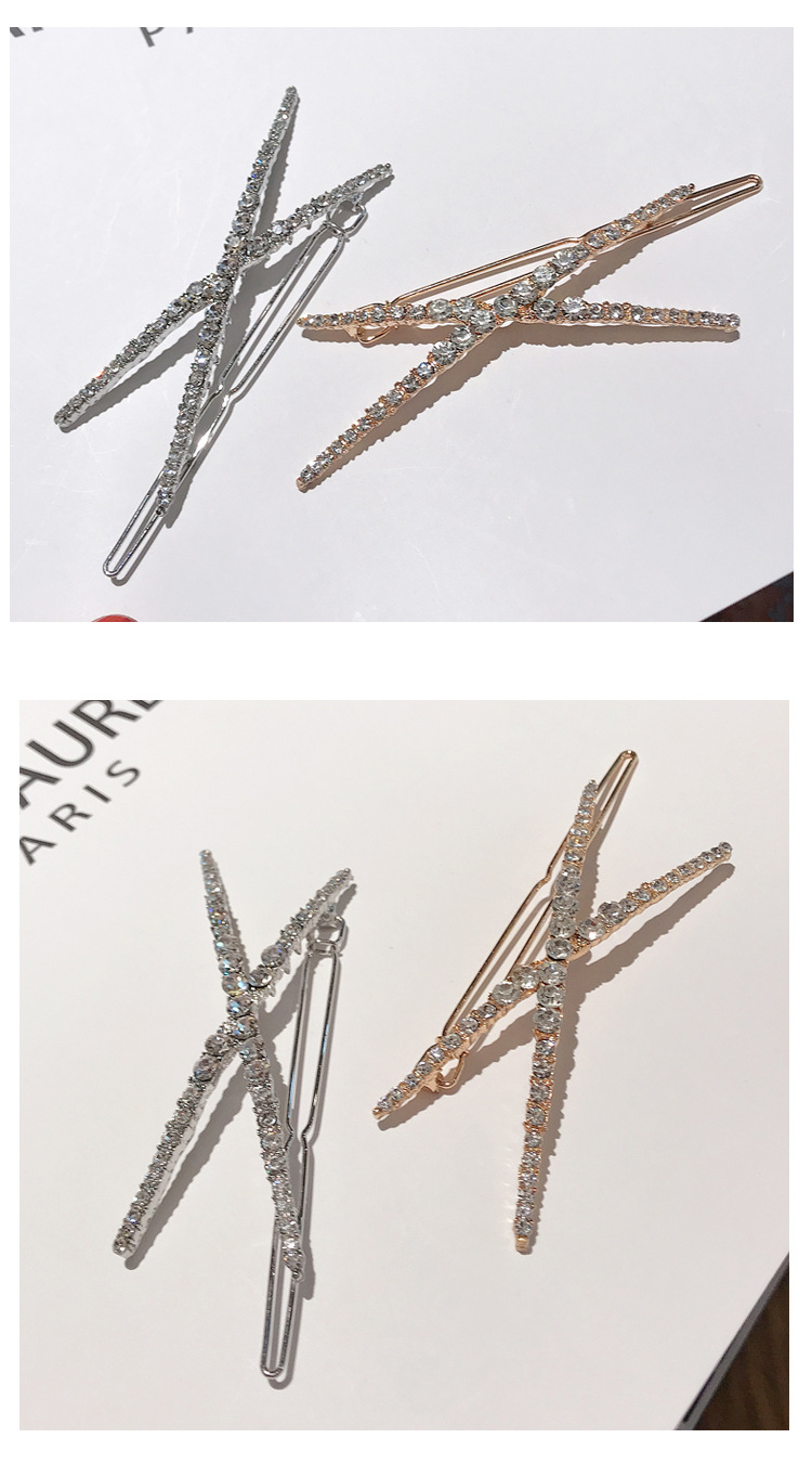 Korean X-shaped rhinestone hairpin crystal simple cheap hairpin wholesale NHDQ207408