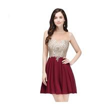 欧美女装优雅酒红色蕾丝短款舞会小礼服低价贴花雪纺迷你晚礼服女