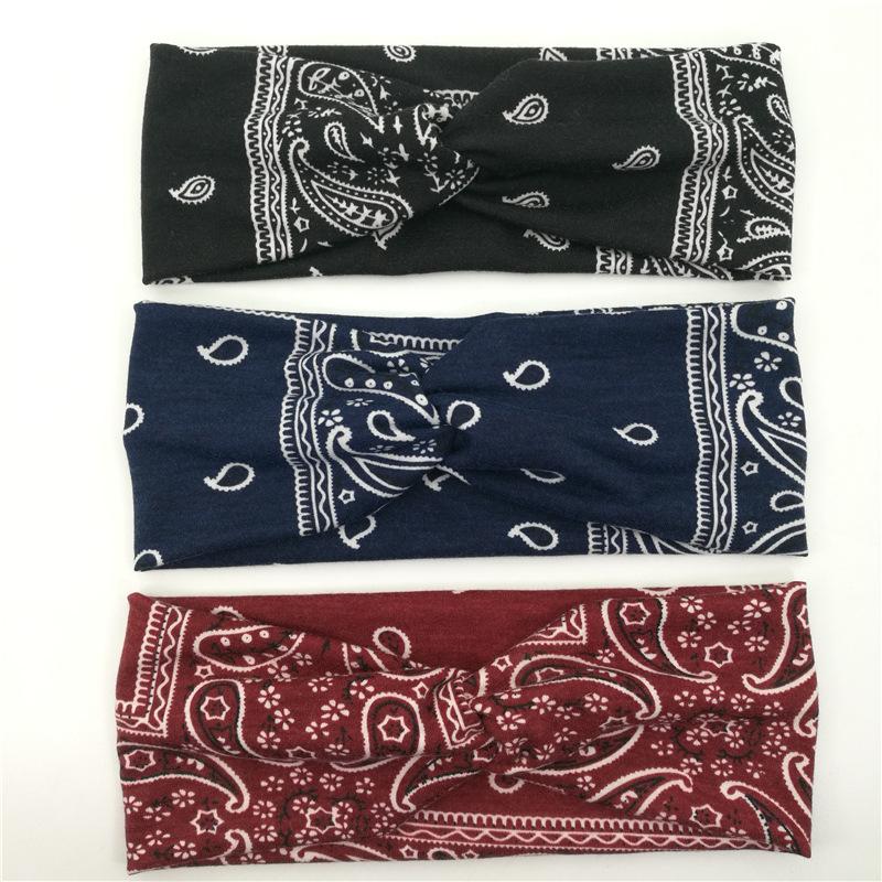 跨境热卖欧美头带 8字交叉纯棉针织弹力发带 女士瑜伽运动束发带
