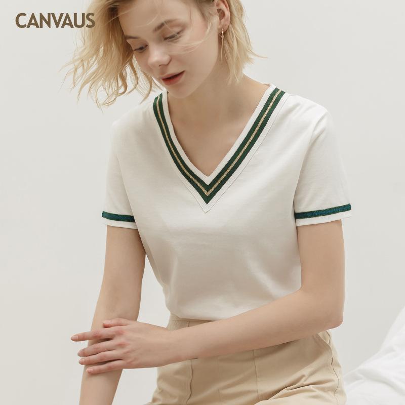 CANVAUS夏季新款纯棉V领织带宽松欧美气质短袖T恤女上衣K1069A