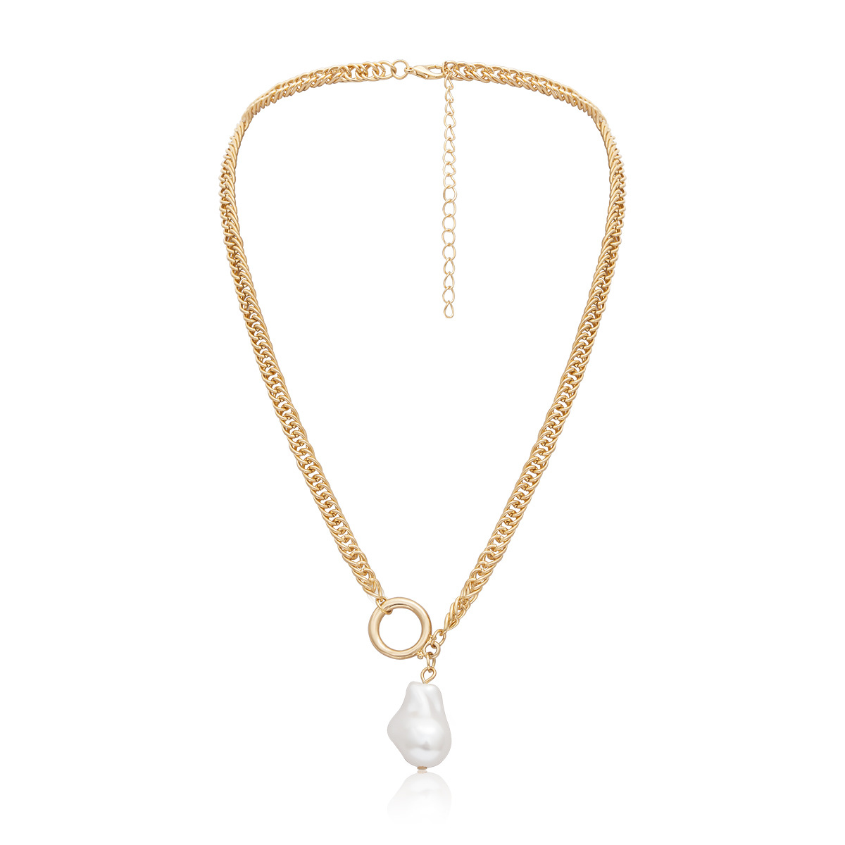 Womens teardropshaped plated beads iron chain Necklaces NHXR137877