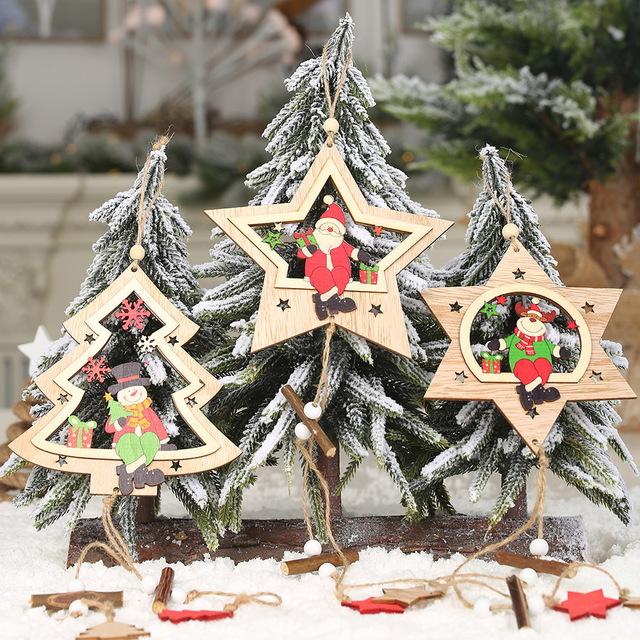 2019年圣诞新品木质六芒星五角星圣诞树挂件创意镂空彩色圣诞挂饰