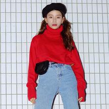 女式毛衣 2019秋冬韓版新款女裝寬松毛衣高領純色打底針織衫外套