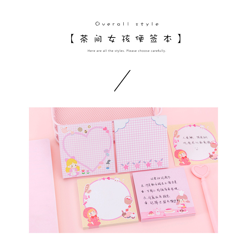 Cute little girl cartoon note book student girl post-it note n times NHKU184763