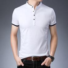 沃慕男純棉立領短袖T恤2019夏新款青年純色空白半袖體恤一件代發