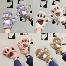 冬季手套女韩版学生日系半指卡通萌甜美可爱猫爪冬天加绒加厚保暖