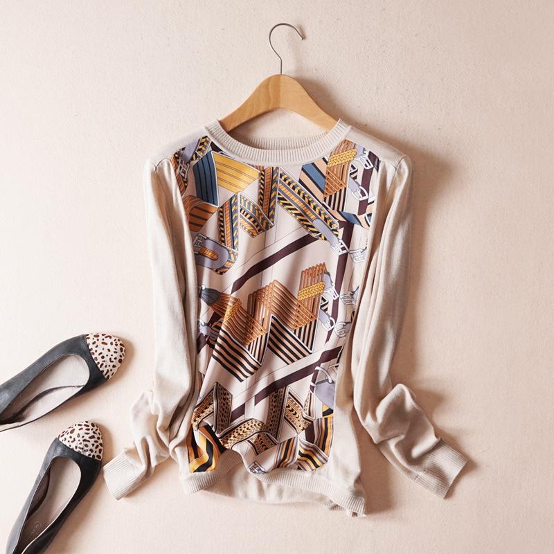 19春季新款 时尚花色印花雪纺拼接羊毛长袖套头针织衫薄款毛衣女