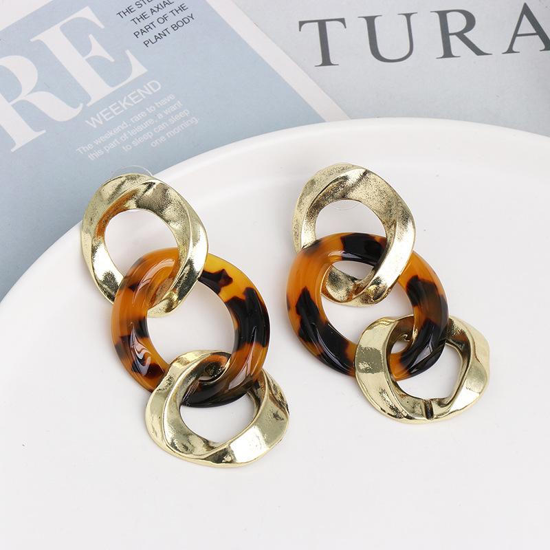 New alloy simple Lianhe earrings temperament wild metal earrings NHJJ185398