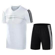 Mùa hè mới phù hợp với thể thao nam v-cổ ngắn tay phù hợp với năm quần nhanh khô chạy bộ quần áo thể dục vi cung cấp Bộ đồ thể thao nam