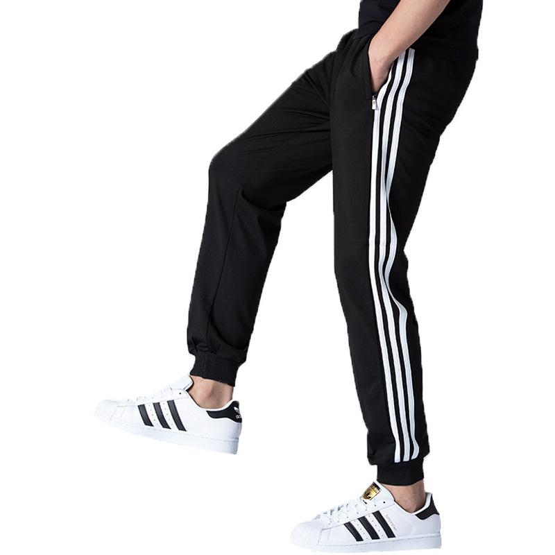 2020新款男士女士运动服套装长裤纯棉透气跑步情侣款黑色休闲裤子