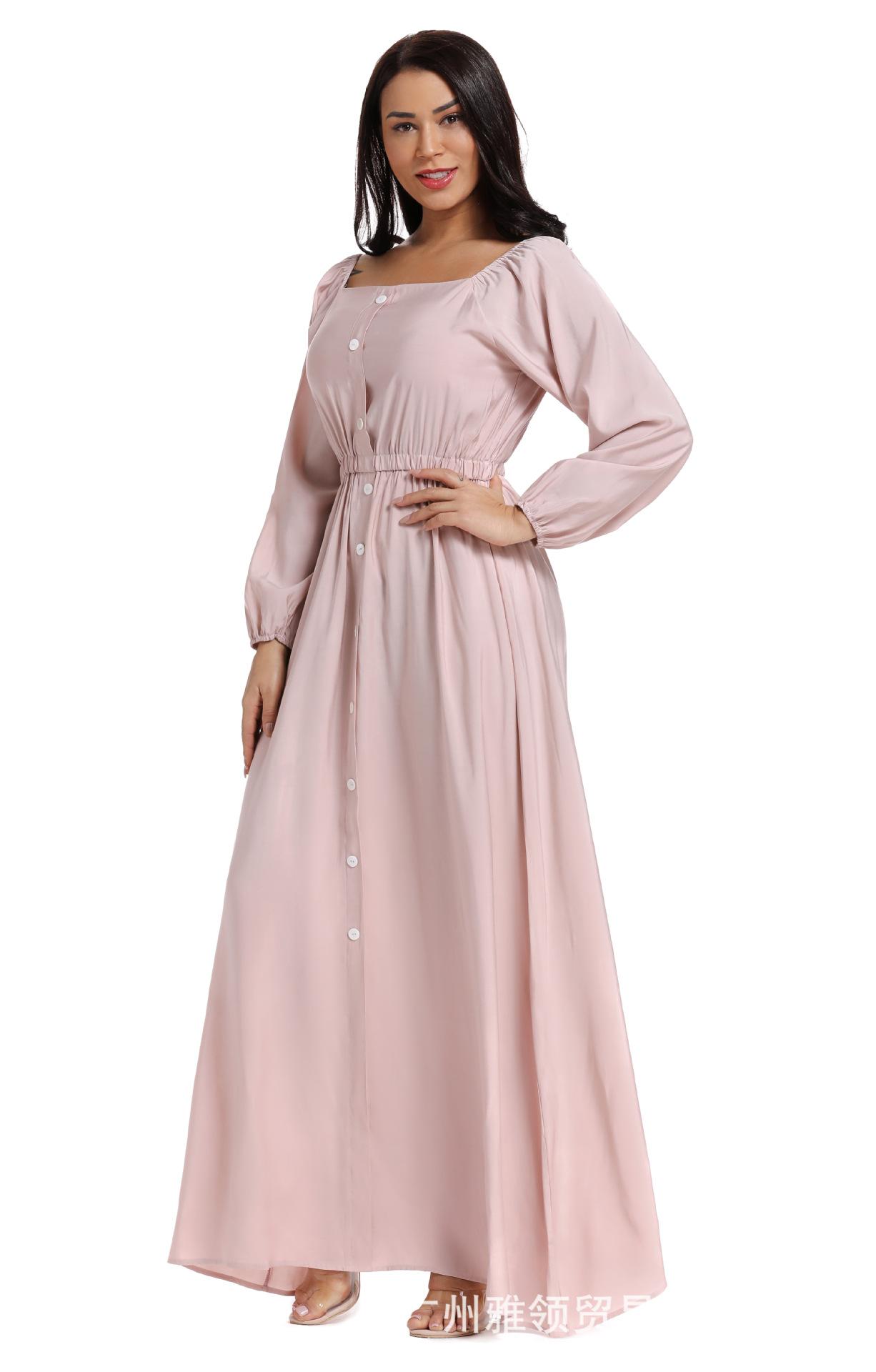 2019 جديد قماش عادي فستان بأكمام طويلة الإناث الشرق الأوسط مسلم بالإضافة إلى تنورة الأميرة طويلة الإناث تنورة الخصر فضفاضة