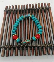 仿西藏老款藏传绿松石手串 复古民族风算盘子手链