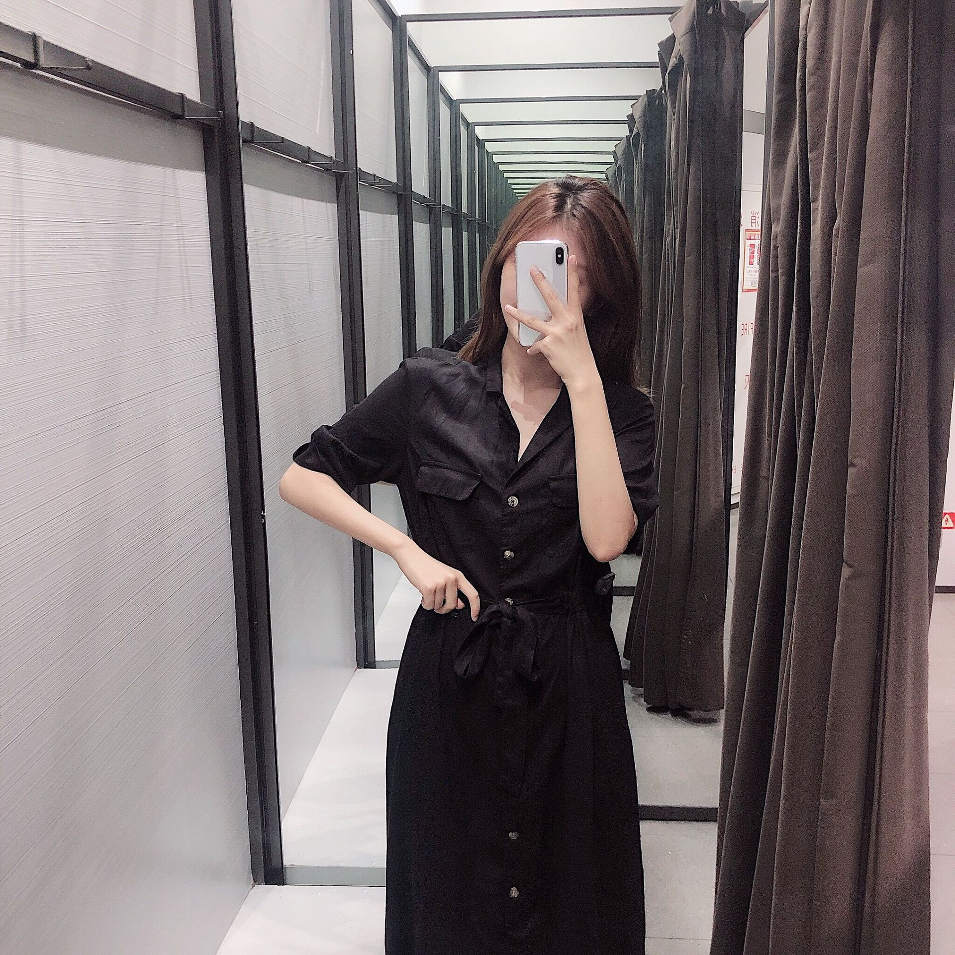 Stylish high-waisted pocket drape dress NHAM155900