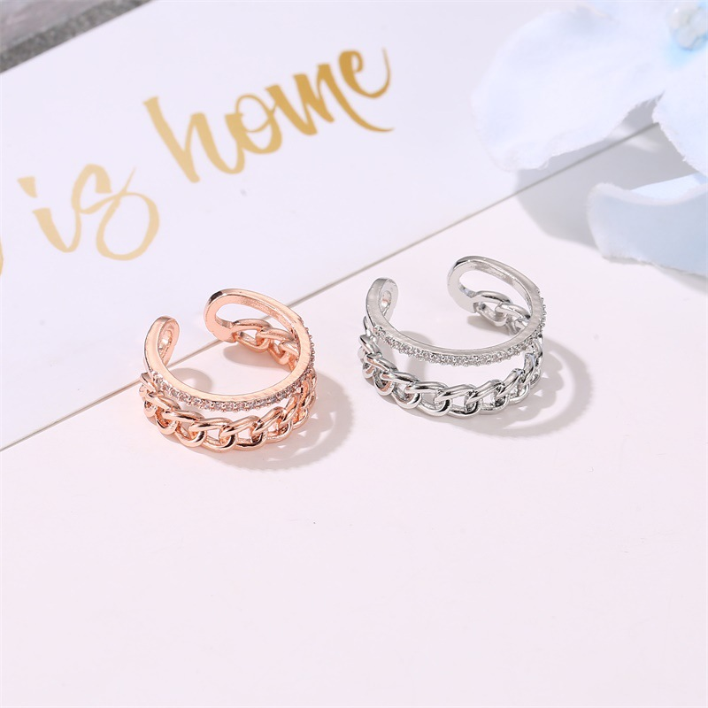 New ring double chain ring yiwu nihaojewelry wholesale ladies diamond open ring adjustable size ring NHMO213951