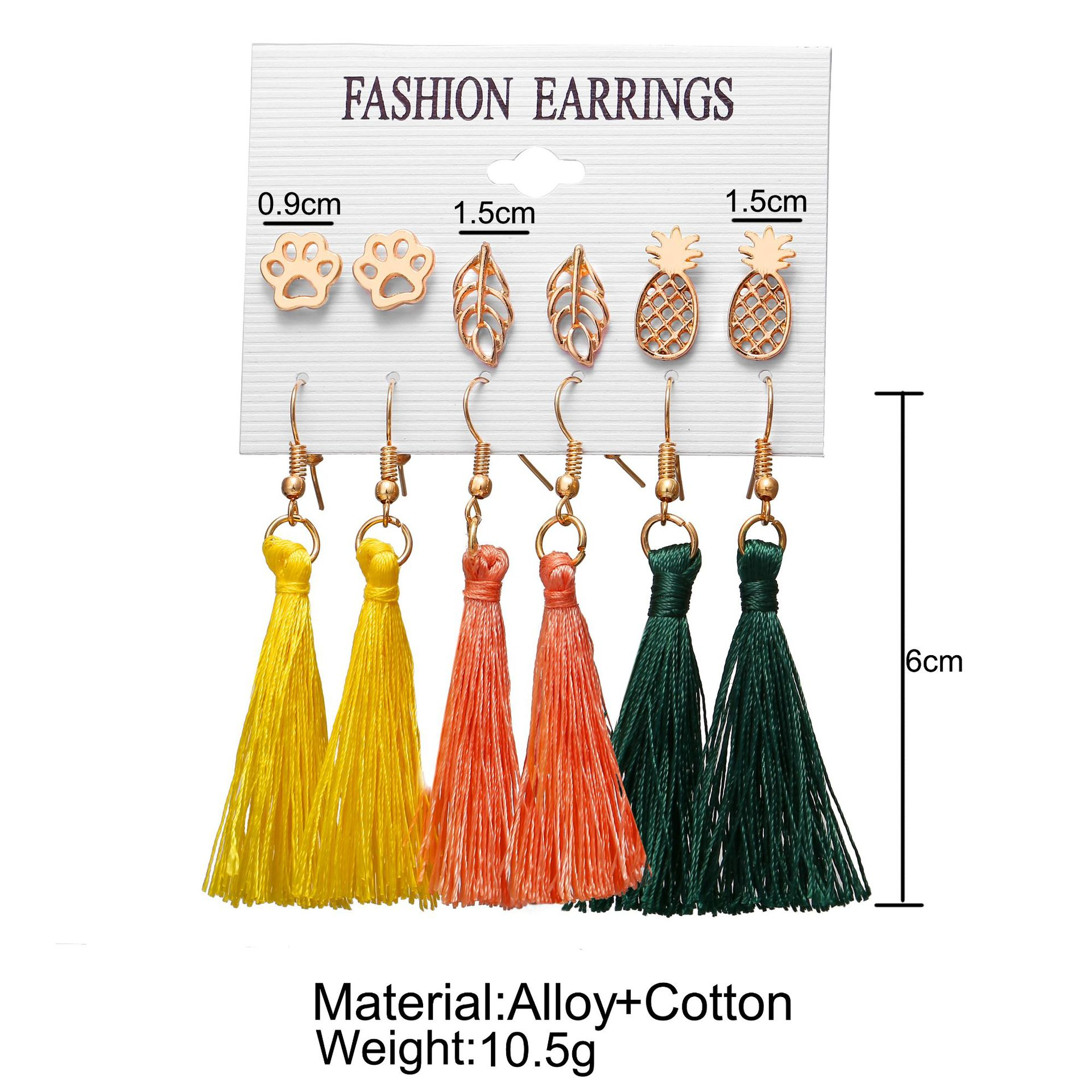 New Hot Sale Bohemian Moon Triangle Tassel Earring Set 6 Pairs wholesale NHYI257982