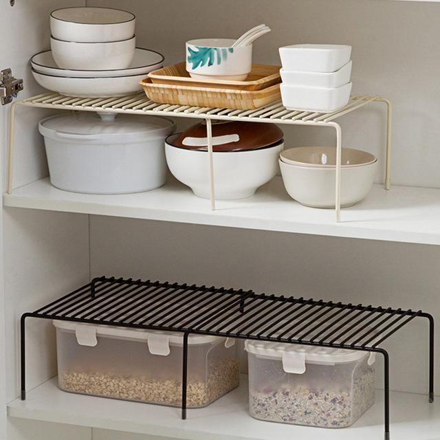 T厨房铁艺置物架可伸缩调味品收纳架子 橱柜碗碟沥水置物架水槽架