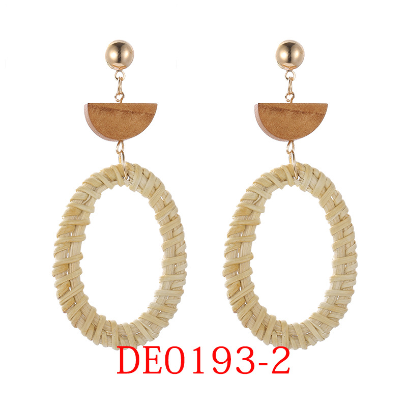 Creative hollow handmade bamboo and rattan woven earrings NHSD130471