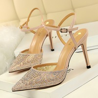 183-1 Korean fashion sexy women's shoes with thin heel, high heel, shallow mouth, pointed mesh hollow water drill with sandals