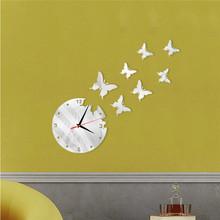 7只蝴蝶钟批发亚克力立体蝴蝶镜面钟表墙贴 精工艺术镜面钟表墙贴