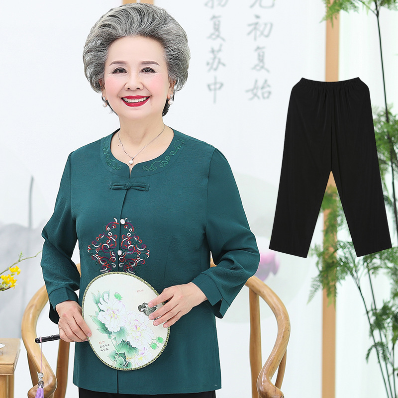 中老年人女装夏季套装奶奶衬衫老人衣服妈妈春秋季中袖薄款上衣