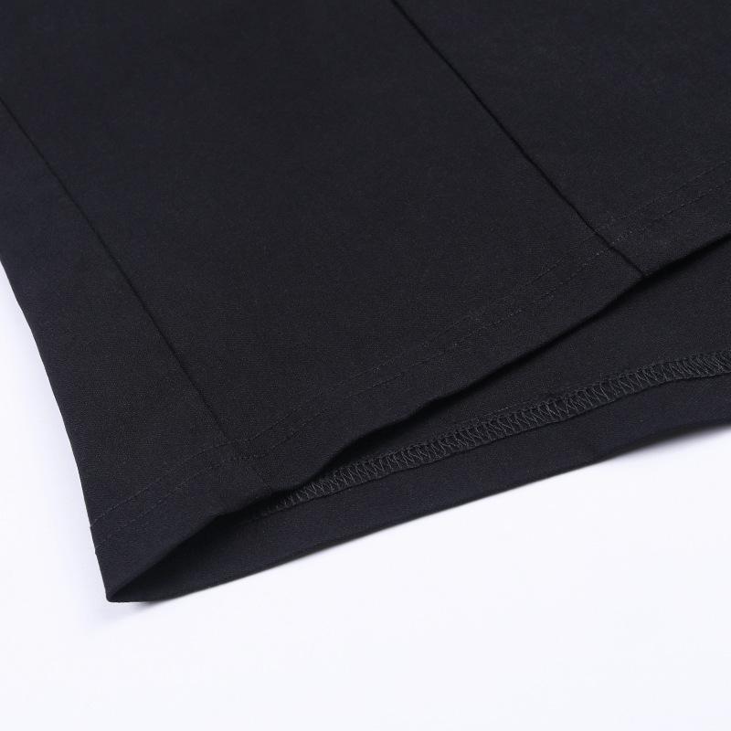 simple split V-neck metal buckle belt skirt NSFLY62163