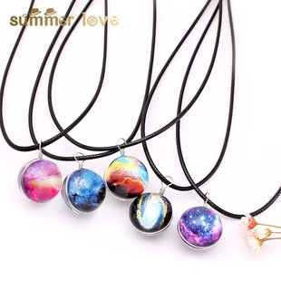 Fantasy Starry Sky Universe Planet Milky Way Time Gemstone Necklace Double-sided Glass Ball Leather Cord Necklace Clavicle Chain