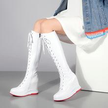 2019冬季新款歐美長靴內增高坡跟真皮女靴綁帶騎士超高跟過膝靴萬
