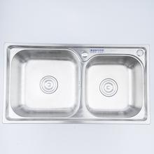廠家直銷水槽百靈潔具8143連體雙盤水槽304食品級不銹鋼穩固耐用