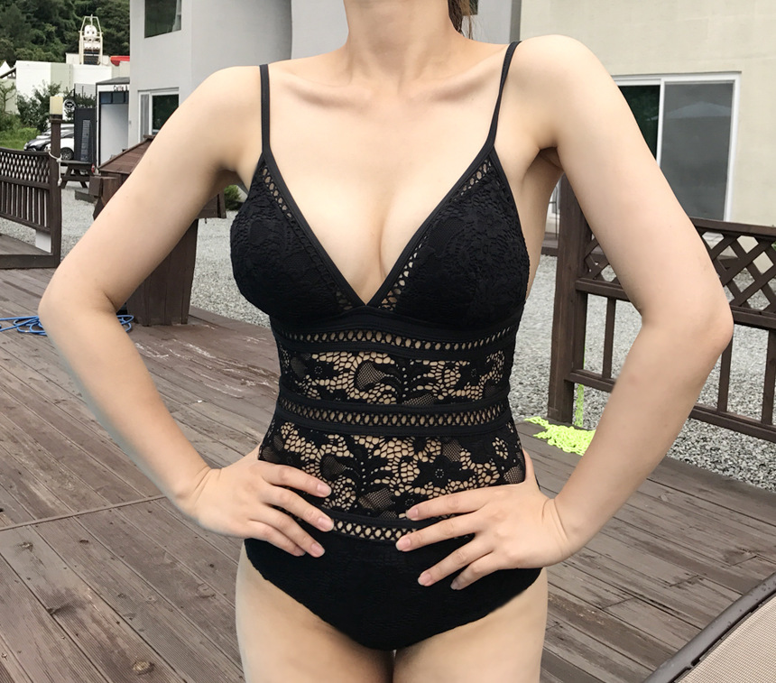 Triangle sexy backless lace openwork spa swimsuit NHXW121915