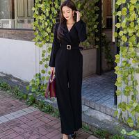 跨境女装2020春装新款OL职业气质西装领收腰显瘦直筒裤连体裤