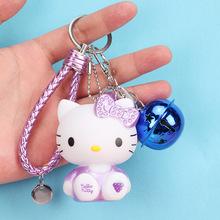 新款韩国可爱KT猫卡通钥匙扣挂件女 时尚铃铛情侣钥匙链汽车挂件