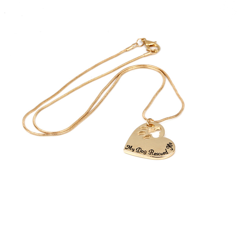 Explosion Necklace Clavicle Chain Fashion My Dog Rescued Me Loving Hollow Dog Claw Necklace wholesale nihaojewelry NHMO229237
