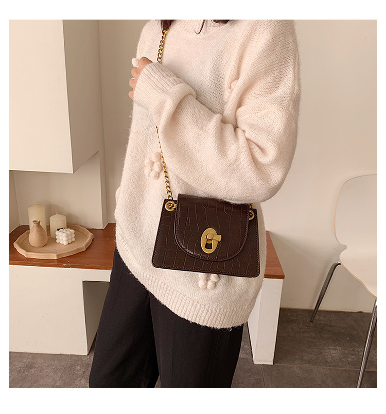 Retro fashion shoulder small square bag new simple wild alligator chain cross-body bag NHPB196952