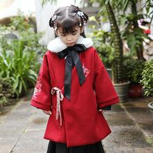 女童古裝秋冬新品一件代發童裝中小童復古加絨加厚中長款毛呢外套