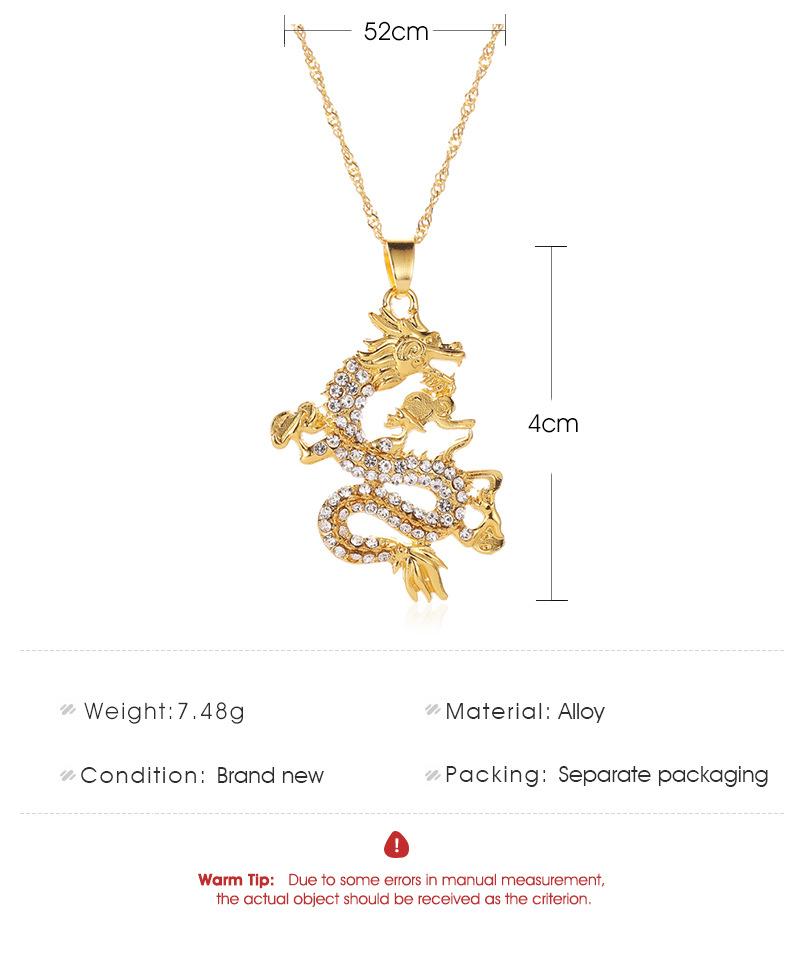Jewelry Classic Diamond Dragon Pendant Sweater Chain Zodiac Flying Dragon Necklace NHDP187603
