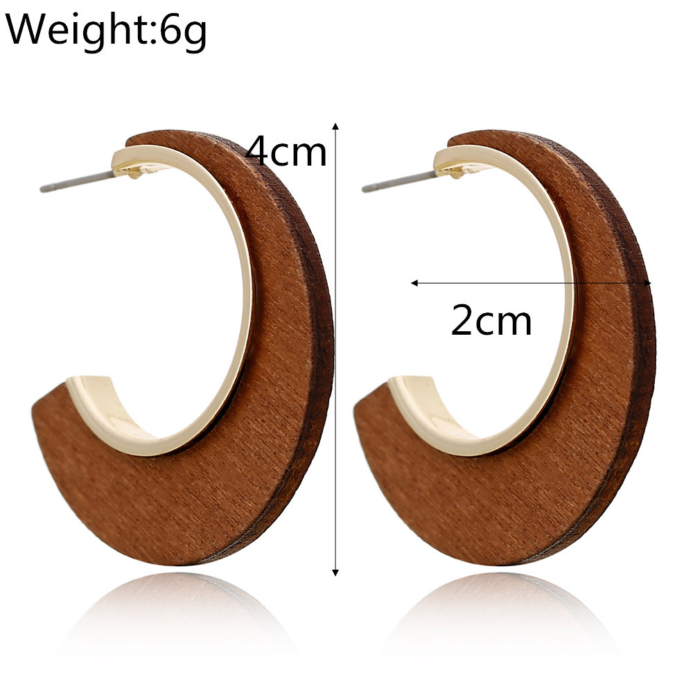 Fashion geometric hollow wood earrings fashion simple alloy earrings earrings ear jewelry female NHXI176918