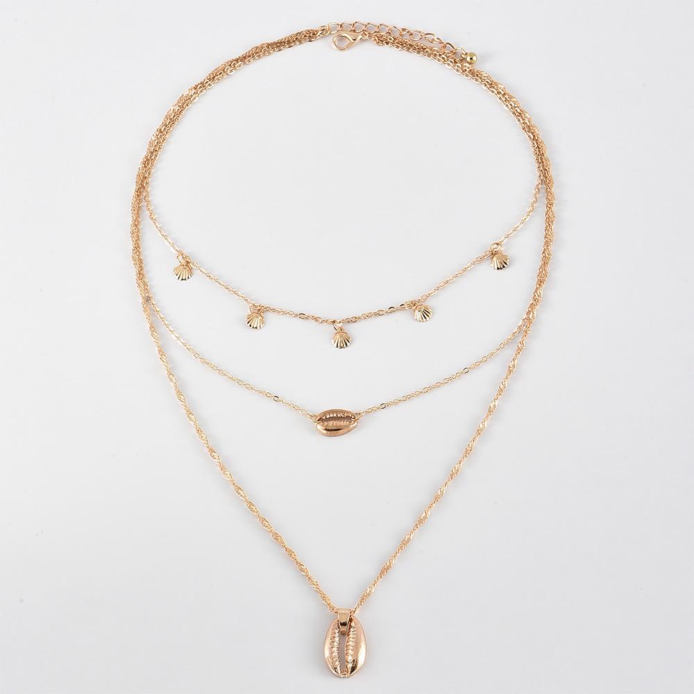 Women's multi-layer shell pendant necklace  NHAJ273700