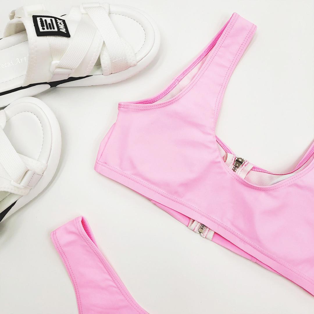 new solid color split  sports zipper bikini wholesale  NHZO243853