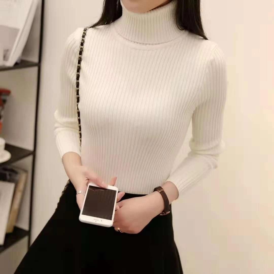 韩版高领保暖2020秋冬季打底衫女士毛线衣修身显瘦高领套头毛衣女