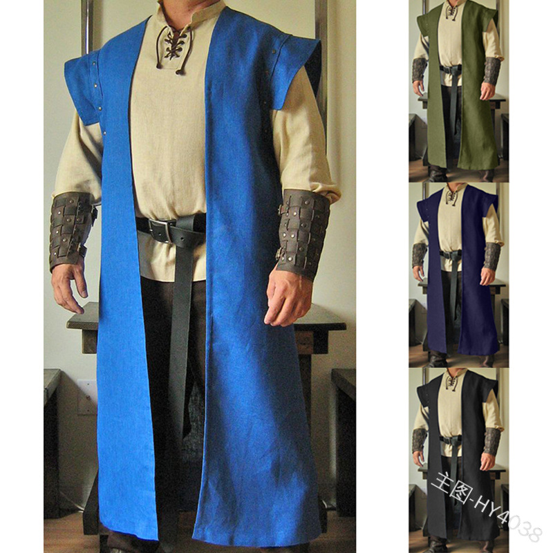 民族风无袖坎肩中长款马甲风衣外套中世纪复古道袍披风男装HY4038