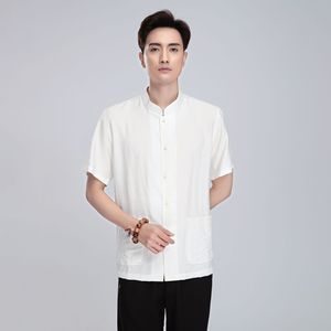 Chinese tang suit shirt for male style linen Tang suit men Short Sleeve