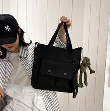帆布大包包女2019秋季新款韩版多口袋购物手提包潮时尚单肩斜挎包