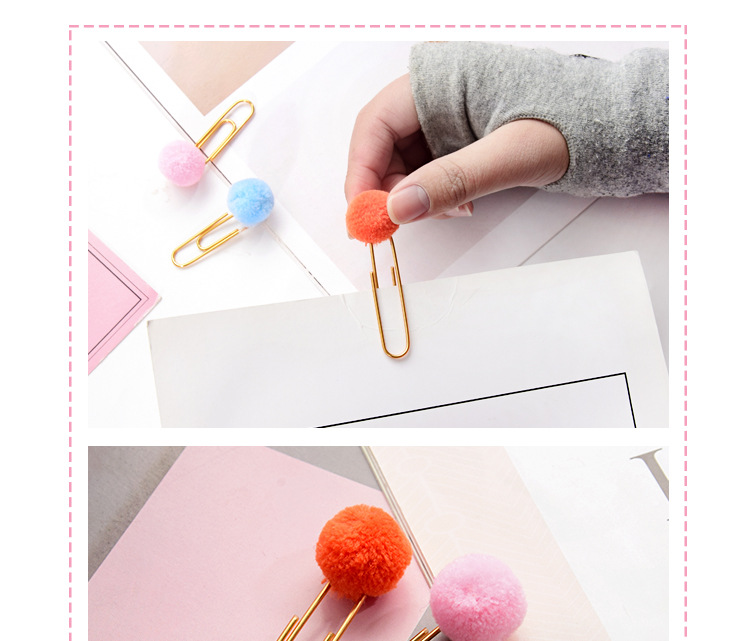 Girl heart colored hair ball paper clip paper clip NHHE135278