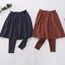 秋季新款韩版儿童针织假两件裤子 中小女童长裤打底修身弹力裙裤