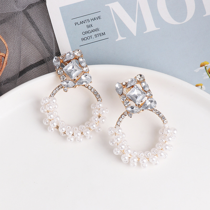 Simple diamond winding pearl earrings French earrings geometric diamond earrings women NHJJ199598