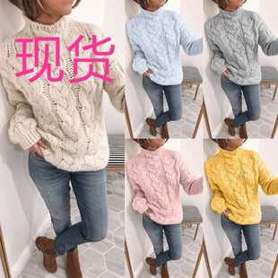 1960 cute round neck long sleeve loose fit sweater knitted sweater for autumn and winter