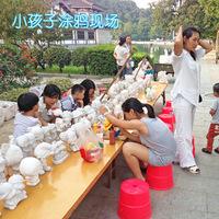 儿童diy手工涂色石膏娃娃彩绘模具存钱罐搪胶陶瓷摆地摊玩具批发