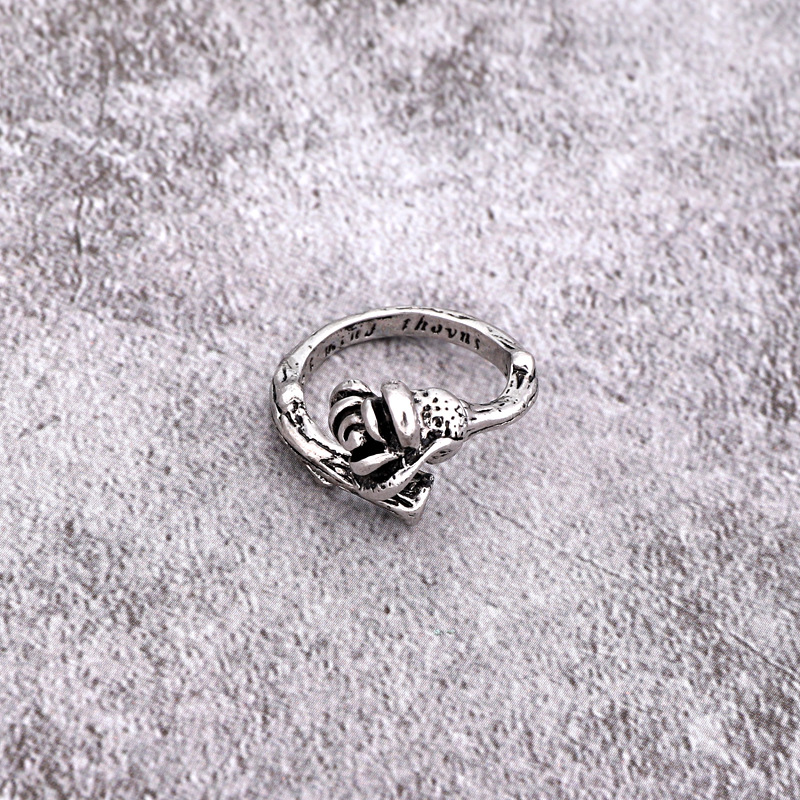 new punk ring retro gothic ancient silver skull hollow cross rose peacock ring wholesale nihaojewelry NHGO231916